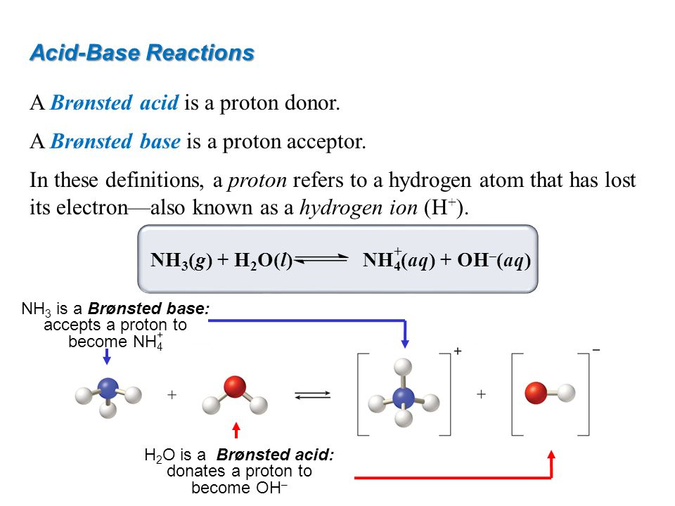 Acid-Base Reactions A Brønsted acid is a proton donor. A Brønsted base is a proton acceptor. In these definitions, a proton refers to a hydrogen atom