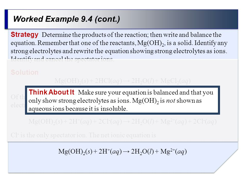 Worked Example 9.4 (cont.) Strategy Determine the products of the reaction; then write and balance the equation.