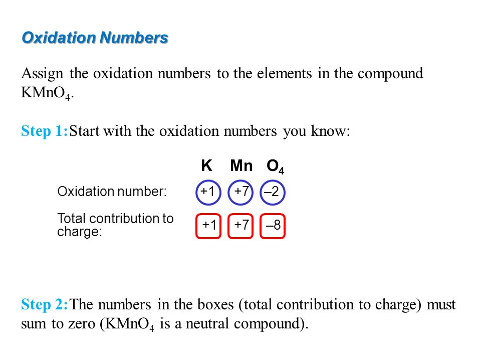 Oxidation Numbers Assign the oxidation numbers to the elements in the compound KMnO 4. Step 1:Start with the oxidation numbers you know: Step 2:The nu