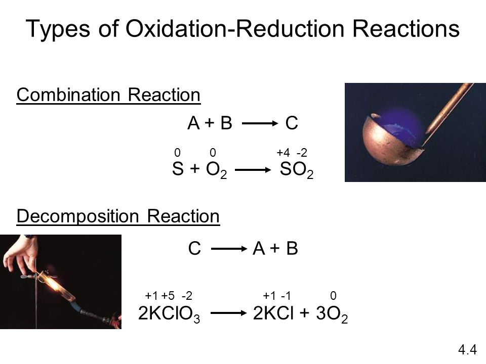 Types of Oxidation-Reduction Reactions Combination Reaction A + B C S + O 2 SO 2 Decomposition Reaction 2KClO 3 2KCl + 3O 2 C A + B 00 +4-2 +1+5-2+10 4.4