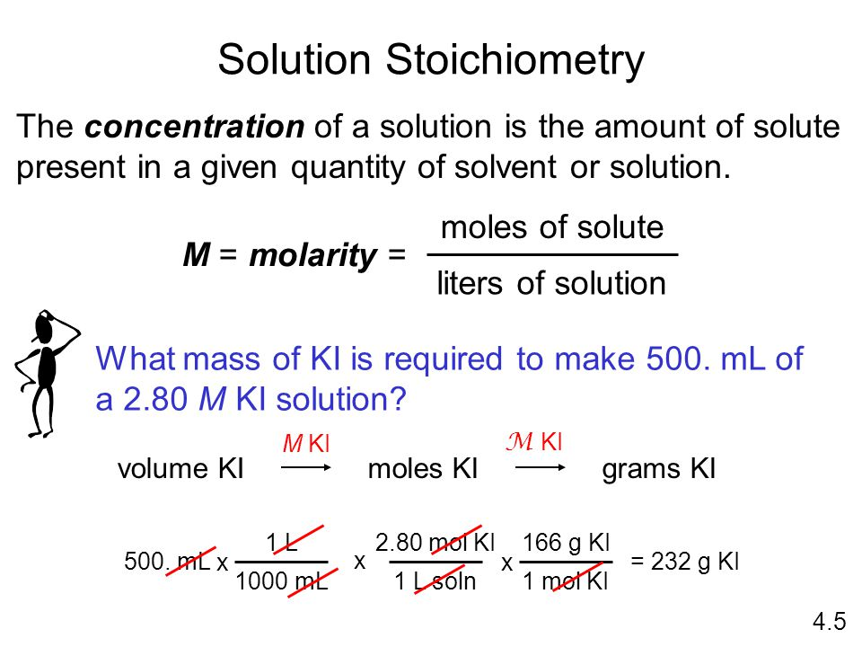 Solution Stoichiometry The concentration of a solution is the amount of solute present in a given quantity of solvent or solution.