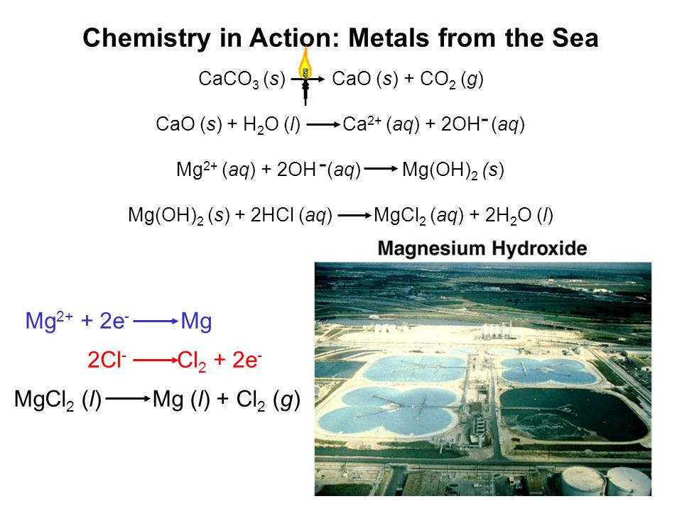 Chemistry in Action: Metals from the Sea CaCO 3 (s) CaO (s) + CO 2 (g) Mg(OH) 2 (s) + 2HCl (aq) MgCl 2 (aq) + 2H 2 O (l) CaO (s) + H 2 O (l) Ca 2+ (aq) + 2OH (aq) - Mg 2+ (aq) + 2OH (aq) Mg(OH) 2 (s) - Mg 2+ + 2e - Mg 2Cl - Cl 2 + 2e - MgCl 2 (l) Mg (l) + Cl 2 (g)