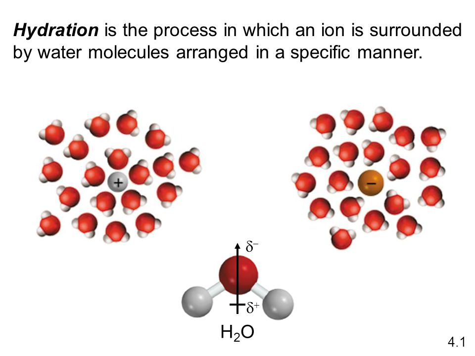 Hydration is the process in which an ion is surrounded by water molecules arranged in a specific manner.