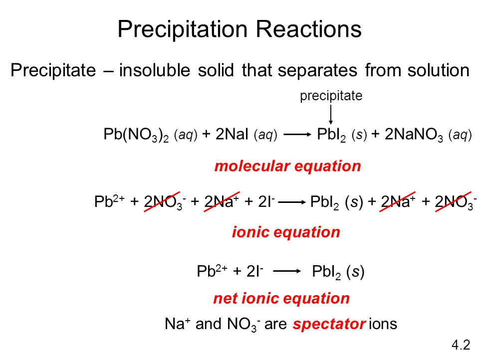 Precipitation Reactions Precipitate – insoluble solid that separates from solution molecular equation ionic equation net ionic equation Pb 2+ + 2NO 3 - + 2Na + + 2I - PbI 2 (s) + 2Na + + 2NO 3 - Na + and NO 3 - are spectator ions Pb(NO 3 ) 2 (aq) + 2NaI (aq) PbI 2 (s) + 2NaNO 3 (aq) precipitate Pb 2+ + 2I - PbI 2 (s) 4.2