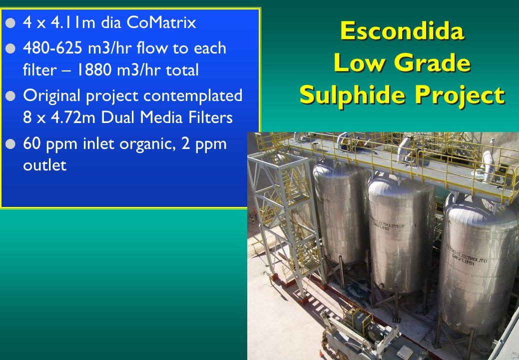 Escondida Low Grade Sulphide Project l 4 x 4.11m dia CoMatrix l 480-625 m3/hr flow to each filter – 1880 m3/hr total l Original project contemplated 8 x 4.72m Dual Media Filters l 60 ppm inlet organic, 2 ppm outlet