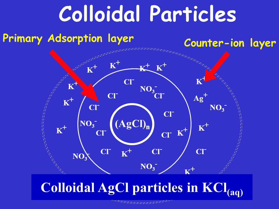 Colloidal Particles (AgCl) n Cl - K+K+ K+K+ NO 3 - Cl - NO 3 - K+K+ K+K+ K+K+ Cl - K+K+ K+K+ K+K+ K+K+ K+K+ NO 3 - Cl - K+K+ NO 3 - K+K+ K+K+ K+K+ Ag + K+K+ Colloidal AgCl particles in KCl (aq) Counter-ion layer Primary Adsorption layer