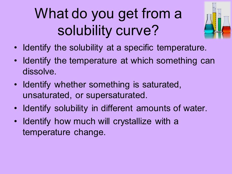 What do you get from a solubility curve. Identify the solubility at a specific temperature.