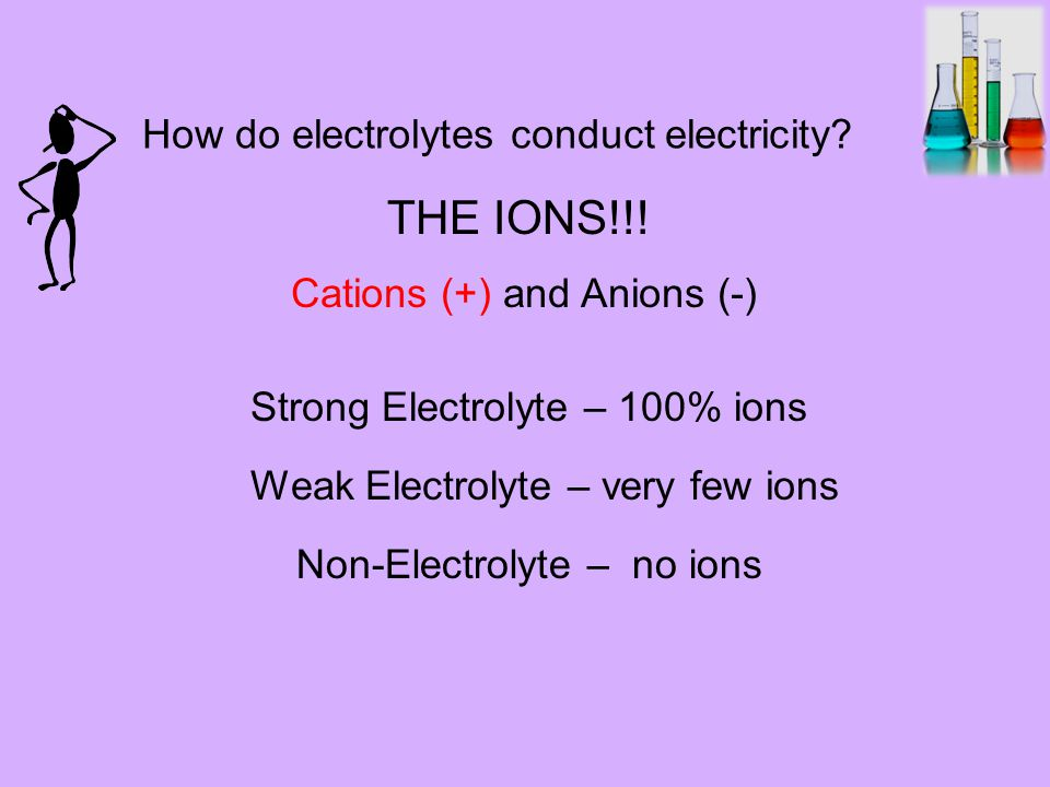 Strong Electrolyte – 100% ions Weak Electrolyte – very few ions How do electrolytes conduct electricity.