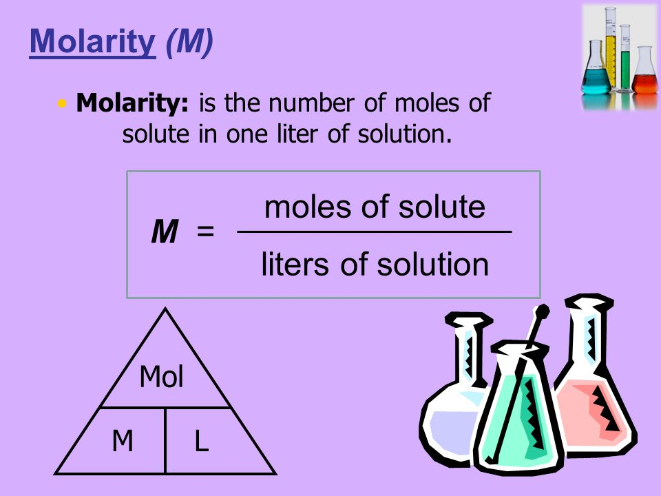 M = moles of solute liters of solution Molarity (M) Mol ML Molarity: is the number of moles of solute in one liter of solution.