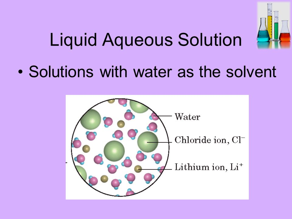 Liquid Aqueous Solution Solutions with water as the solvent