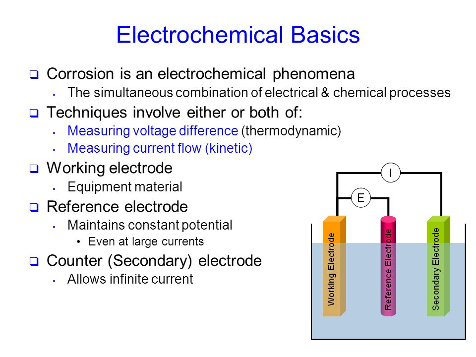 Electrochemical Basics  Corrosion is an electrochemical phenomena  The simultaneous combination of electrical & chemical processes  Techniques invo