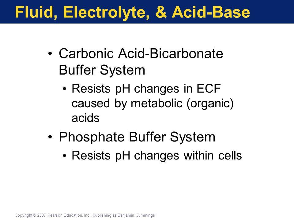 Fluid, Electrolyte, & Acid-Base Carbonic Acid-Bicarbonate Buffer System Resists pH changes in ECF caused by metabolic (organic) acids Phosphate Buffer