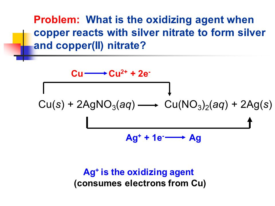 Problem: What is the oxidizing agent when copper reacts with silver nitrate to form silver and copper(II) nitrate.