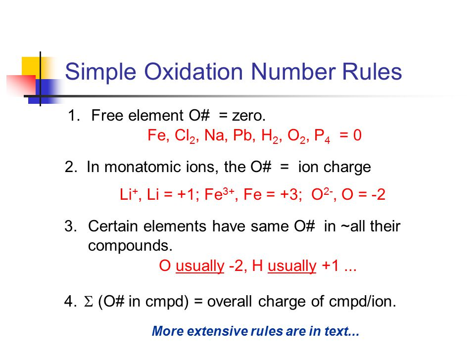 Simple Oxidation Number Rules 1.Free element O# = zero.