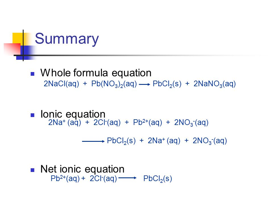 Summary Whole formula equation Ionic equation Net ionic equation Pb 2+ (aq) + 2Cl - (aq) PbCl 2 (s) 2NaCl(aq) + Pb(NO 3 ) 2 (aq) PbCl 2 (s) + 2NaNO 3 (aq) 2Na + (aq) + 2Cl - (aq) + Pb 2+ (aq) + 2NO 3 - (aq) PbCl 2 (s) + 2Na + (aq) + 2NO 3 - (aq)
