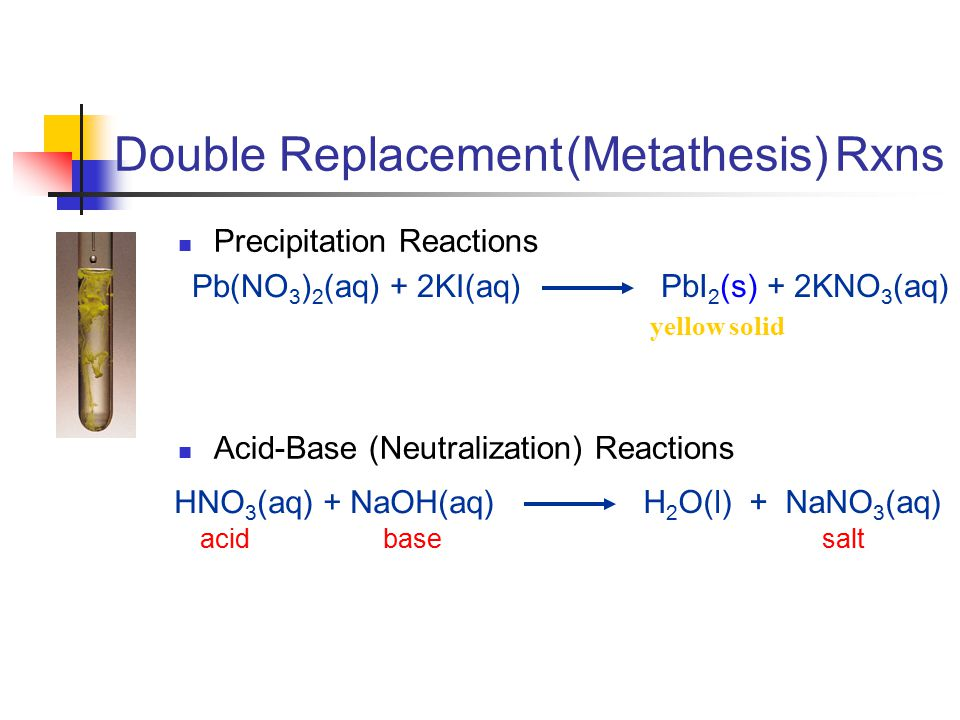Double Replacement (Metathesis) Rxns Precipitation Reactions Acid-Base (Neutralization) Reactions HNO 3 (aq) + NaOH(aq) H 2 O(l) + NaNO 3 (aq) acid base salt Pb(NO 3 ) 2 (aq) + 2KI(aq) PbI 2 (s) + 2KNO 3 (aq) yellow solid