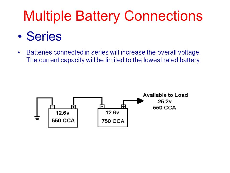 Series Batteries connected in series will increase the overall voltage.