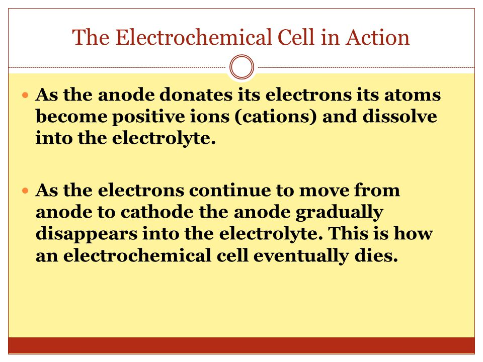 The Electrochemical Cell in Action As the anode donates its electrons its atoms become positive ions (cations) and dissolve into the electrolyte. As t
