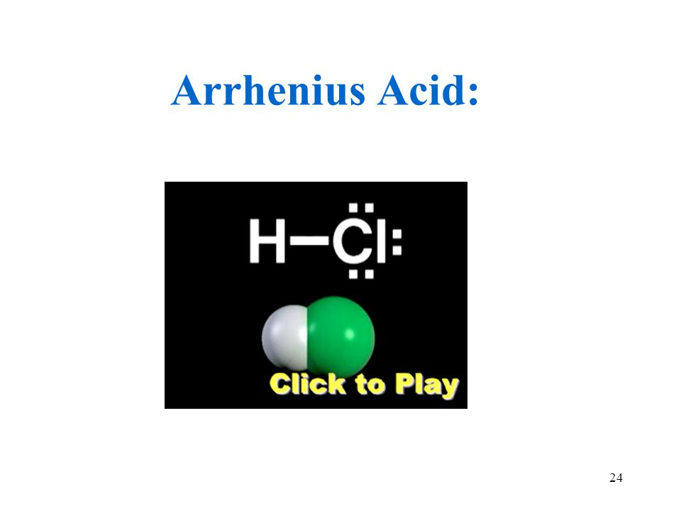 24 Arrhenius Acid: