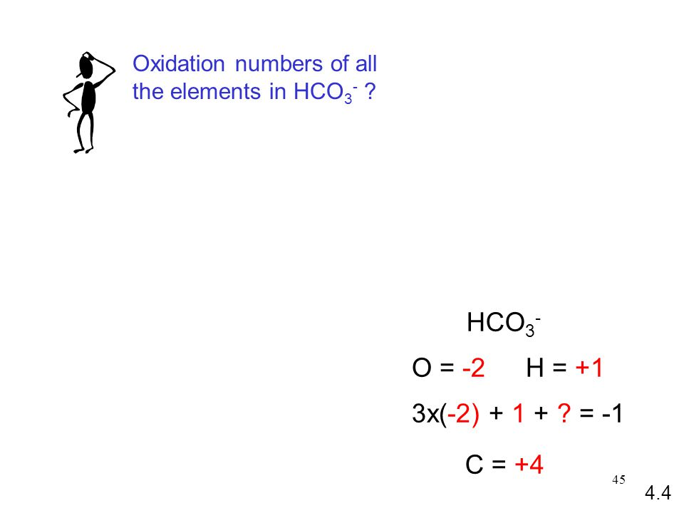 45 HCO 3 - O = -2H = +1 3x(-2) + 1 + ? = -1 C = +4 Oxidation numbers of all the elements in HCO 3 - ? 4.4