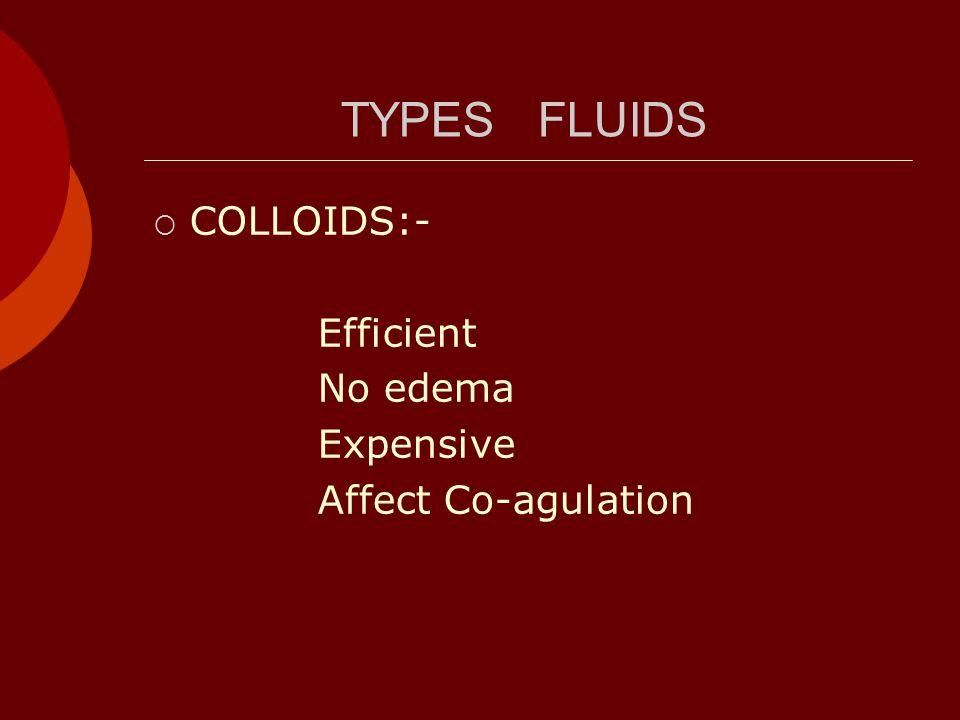 TYPES FLUIDS  COLLOIDS:- Efficient No edema Expensive Affect Co-agulation