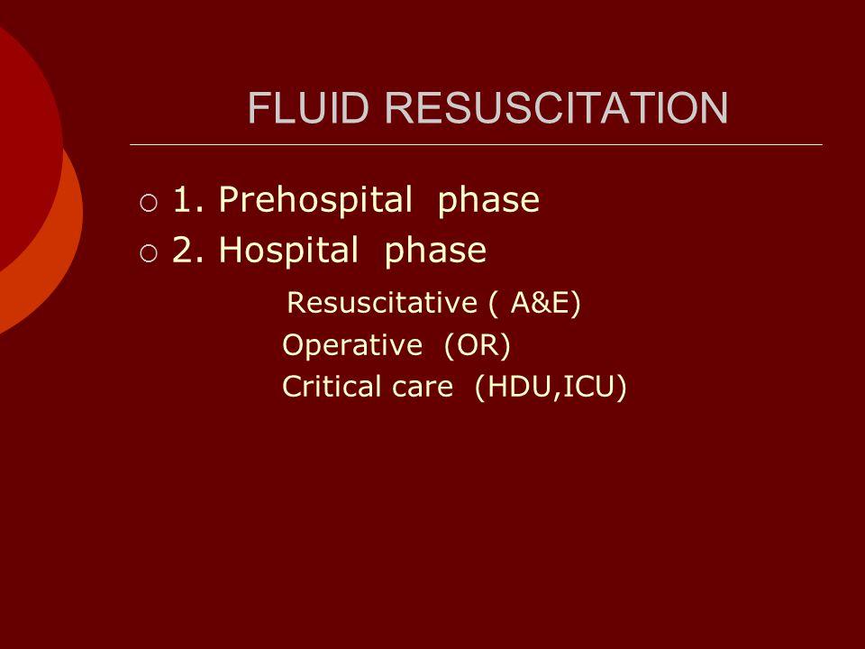 FLUID RESUSCITATION  1. Prehospital phase  2.