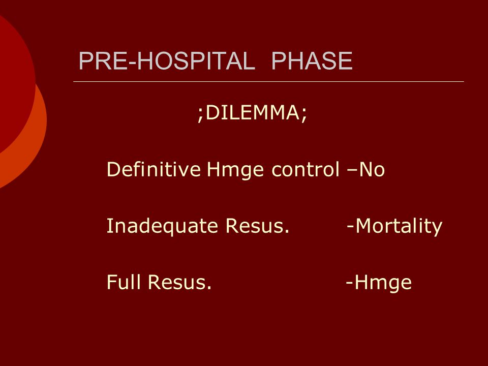 PRE-HOSPITAL PHASE ;DILEMMA; Definitive Hmge control –No Inadequate Resus.