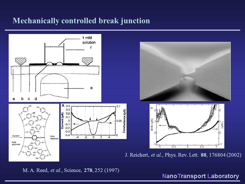 NanoTransport Laboratory Mechanically controlled break junction M. A. Reed, et al., Science, 278, 252 (1997) J. Reichert, et al., Phys. Rev. Lett. 88,