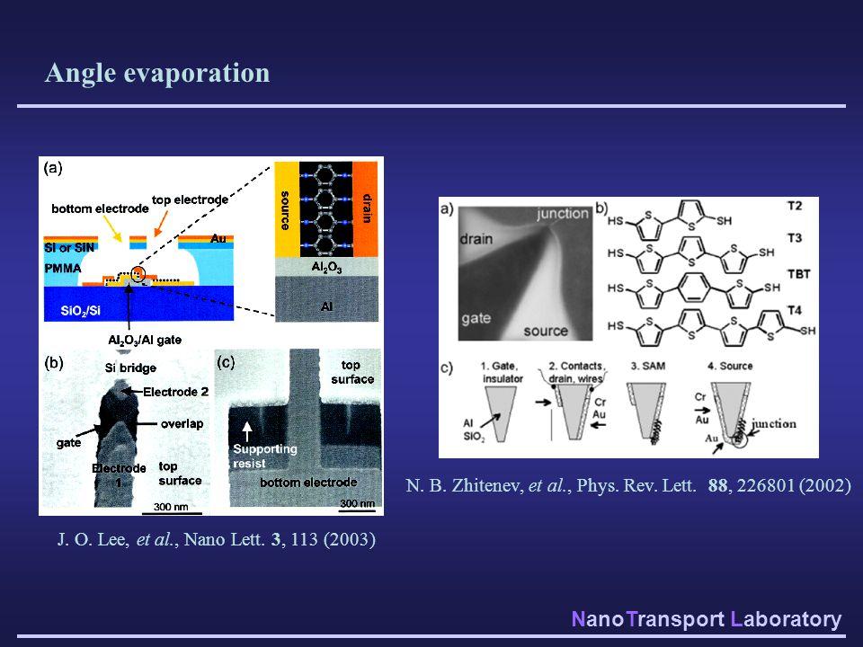 NanoTransport Laboratory Angle evaporation J. O. Lee, et al., Nano Lett. 3, 113 (2003) N. B. Zhitenev, et al., Phys. Rev. Lett. 88, 226801 (2002)