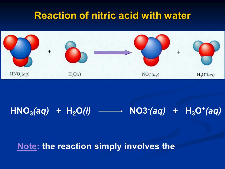 Reaction of nitric acid with water HNO 3 (aq) + H 2 O(l) NO3 - (aq) + H 3 O + (aq) Note: the reaction simply involves the
