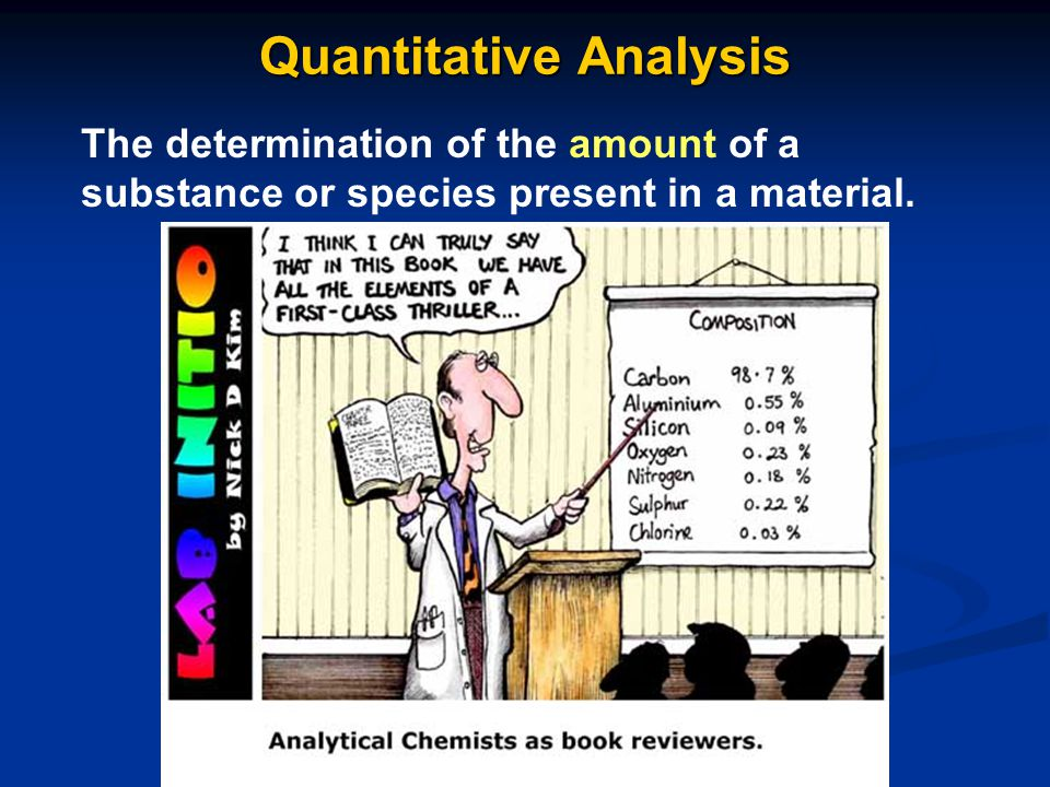 Quantitative Analysis The determination of the amount of a substance or species present in a material.