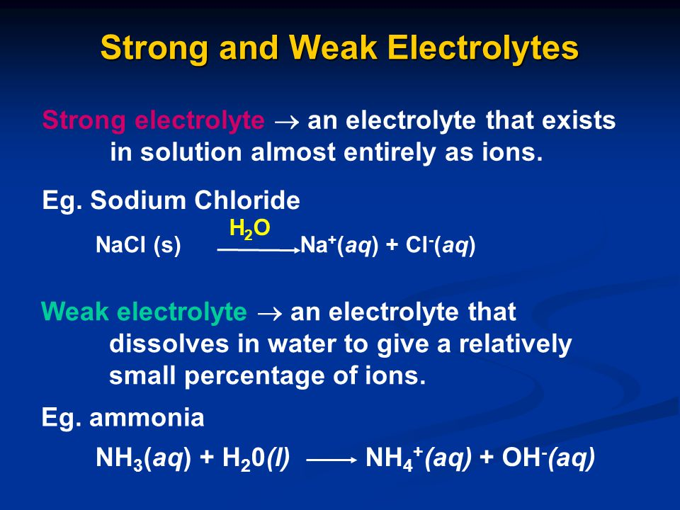 Strong and Weak Electrolytes Strong electrolyte  an electrolyte that exists in solution almost entirely as ions. Eg. Sodium Chloride NaCl (s) Na + (a