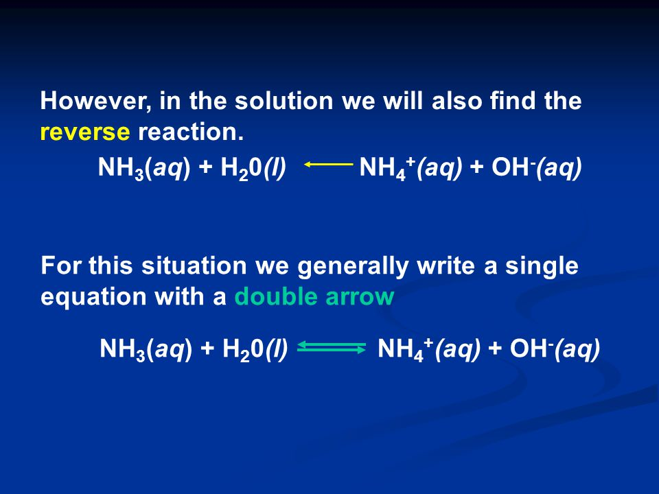 However, in the solution we will also find the reverse reaction. For this situation we generally write a single equation with a double arrow NH 3 (aq)