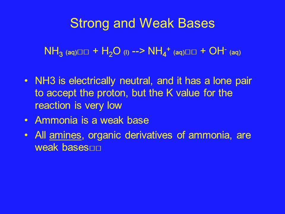 Strong and Weak Bases NH 3 (aq) + H 2 O (l) --> NH 4 + (aq) + OH - (aq) NH3 is electrically neutral, and it has a lone pair to accept the proton, but the K value for the reaction is very low Ammonia is a weak base All amines, organic derivatives of ammonia, are weak bases