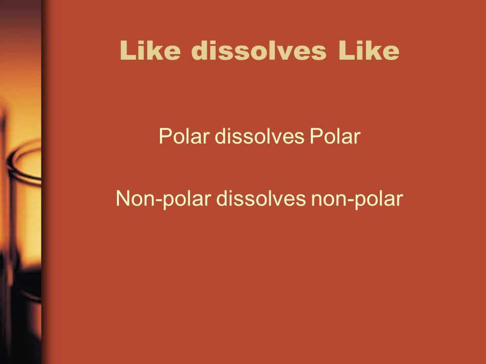 Like dissolves Like Polar dissolves Polar Non-polar dissolves non-polar