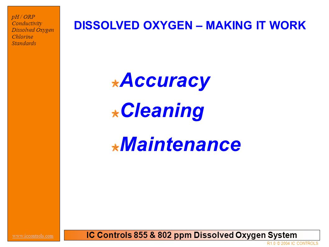 IC Controls 855 & 802 ppm Dissolved Oxygen System pH / ORP Conductivity Dissolved Oxygen Chlorine Standards www.iccontrols.com R1.0 © 2004 IC CONTROLS Self Cleaning Action The self cleaning action takes place because of the turbulence in the water and the movement of the sensor.