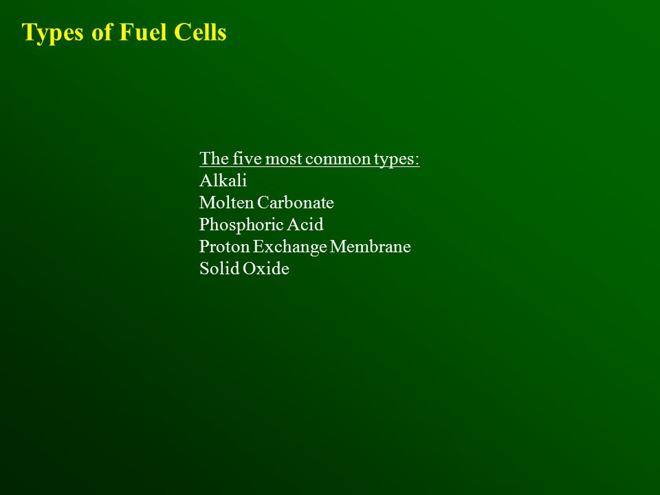 Types of Fuel Cells The five most common types: Alkali Molten Carbonate Phosphoric Acid Proton Exchange Membrane Solid Oxide