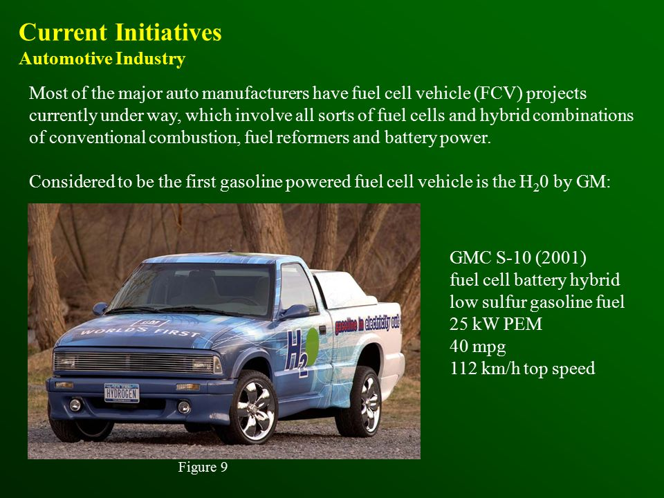 Current Initiatives Automotive Industry Most of the major auto manufacturers have fuel cell vehicle (FCV) projects currently under way, which involve all sorts of fuel cells and hybrid combinations of conventional combustion, fuel reformers and battery power.