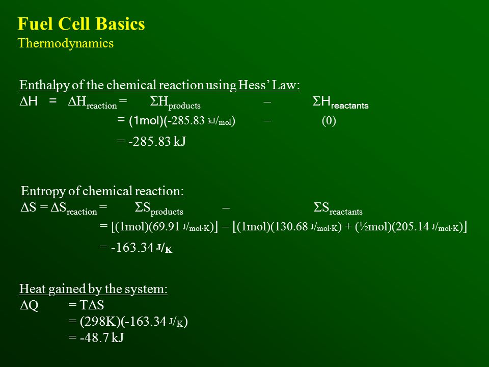 Fuel Cell Basics Thermodynamics Enthalpy of the chemical reaction using Hess' Law: Δ H = ΔH reaction = ΣH products –Σ H reactants = (1mol)(- 285.83 kJ / mol ) – (0) = -285.83 kJ Entropy of chemical reaction: ΔS = ΔS reaction = ΣS products – ΣS reactants = [(1mol)(69.91 J / mol·K ) ] – [ (1mol)(130.68 J / mol·K ) + (½mol)(205.14 J / mol·K ) ] = -163.34 J / K Heat gained by the system: ΔQ= TΔS = (298K)(-163.34 J / K ) = -48.7 kJ