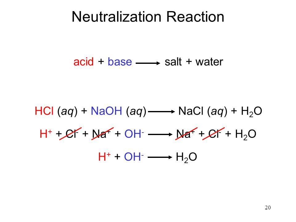 20 Neutralization Reaction acid + base salt + water HCl (aq) + NaOH (aq) NaCl (aq) + H 2 O H + + Cl - + Na + + OH - Na + + Cl - + H 2 O H + + OH - H 2