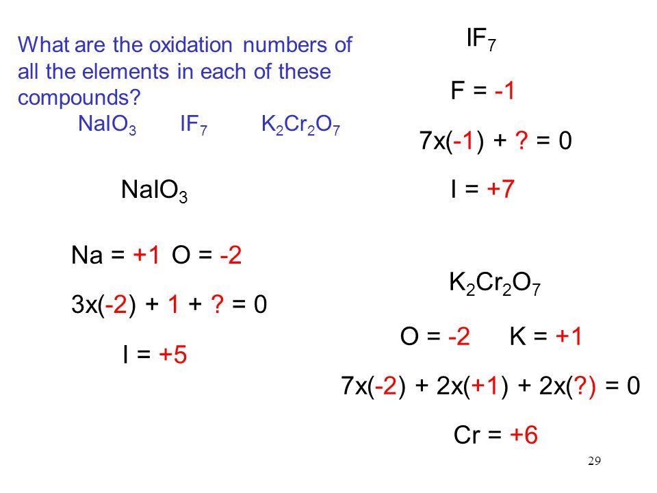 29 NaIO 3 Na = +1O = -2 3x(-2) + 1 + ? = 0 I = +5 IF 7 F = -1 7x(-1) + ? = 0 I = +7 K 2 Cr 2 O 7 O = -2K = +1 7x(-2) + 2x(+1) + 2x(?) = 0 Cr = +6 What