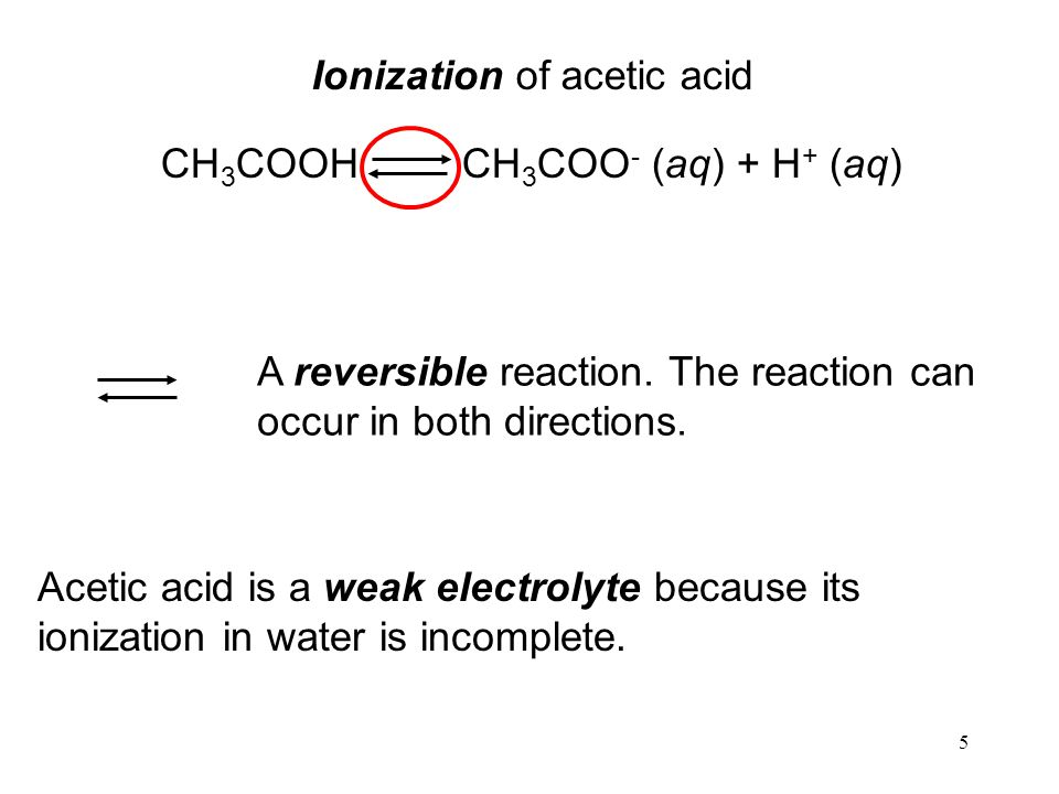 5 Ionization of acetic acid CH 3 COOH CH 3 COO - (aq) + H + (aq) A reversible reaction.