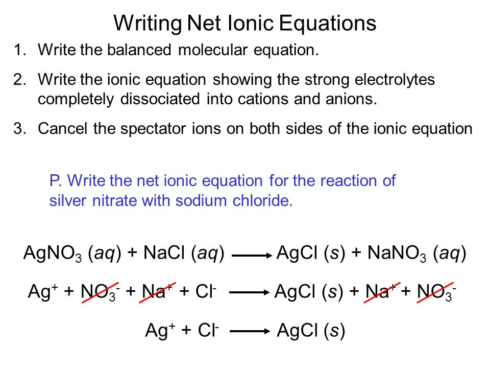 Writing Net Ionic Equations 1.Write the balanced molecular equation.