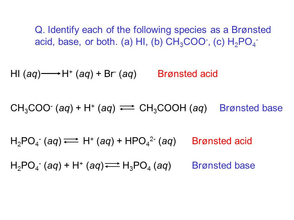 Q. Identify each of the following species as a Brønsted acid, base, or both.