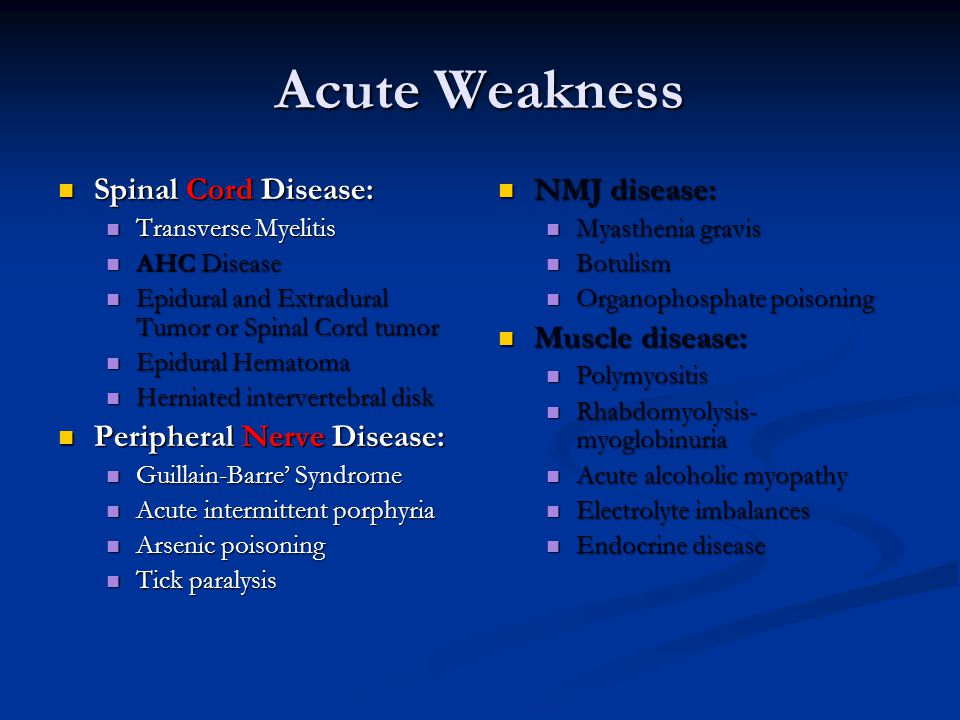 Acute Weakness Spinal Cord Disease: Spinal Cord Disease: Transverse Myelitis Transverse Myelitis AHC Disease AHC Disease Epidural and Extradural Tumor or Spinal Cord tumor Epidural and Extradural Tumor or Spinal Cord tumor Epidural Hematoma Epidural Hematoma Herniated intervertebral disk Herniated intervertebral disk Peripheral Nerve Disease: Peripheral Nerve Disease: Guillain-Barre' Syndrome Guillain-Barre' Syndrome Acute intermittent porphyria Acute intermittent porphyria Arsenic poisoning Arsenic poisoning Tick paralysis Tick paralysis NMJ disease: Myasthenia gravis Botulism Organophosphate poisoning Muscle disease: Polymyositis Rhabdomyolysis- myoglobinuria Acute alcoholic myopathy Electrolyte imbalances Endocrine disease