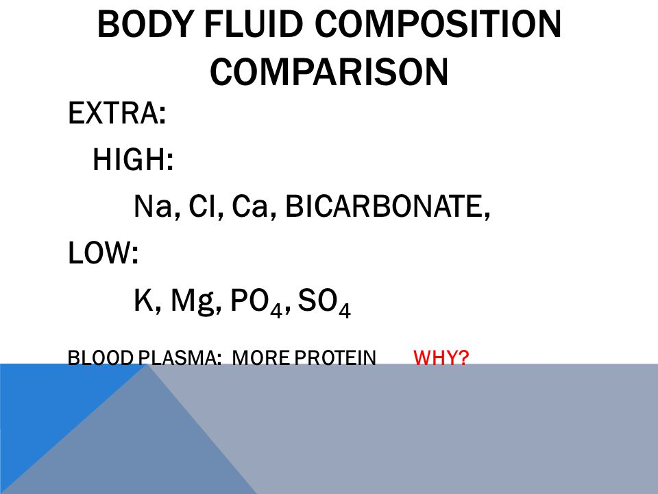 BODY FLUID COMPOSITION COMPARISON EXTRA: HIGH: Na, Cl, Ca, BICARBONATE, LOW: K, Mg, PO 4, SO 4 BLOOD PLASMA: MORE PROTEIN WHY
