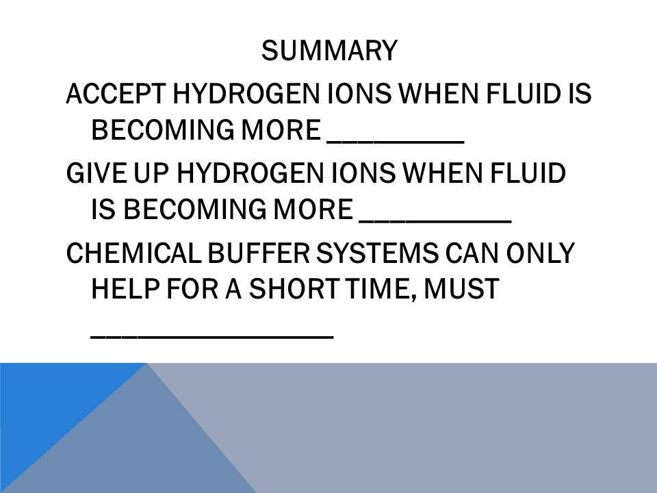 SUMMARY ACCEPT HYDROGEN IONS WHEN FLUID IS BECOMING MORE _________ GIVE UP HYDROGEN IONS WHEN FLUID IS BECOMING MORE __________ CHEMICAL BUFFER SYSTEMS CAN ONLY HELP FOR A SHORT TIME, MUST ________________