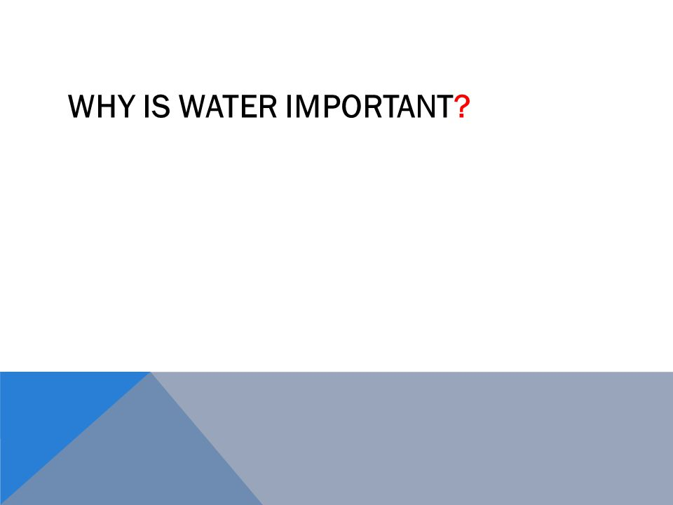 WHY IS WATER IMPORTANT