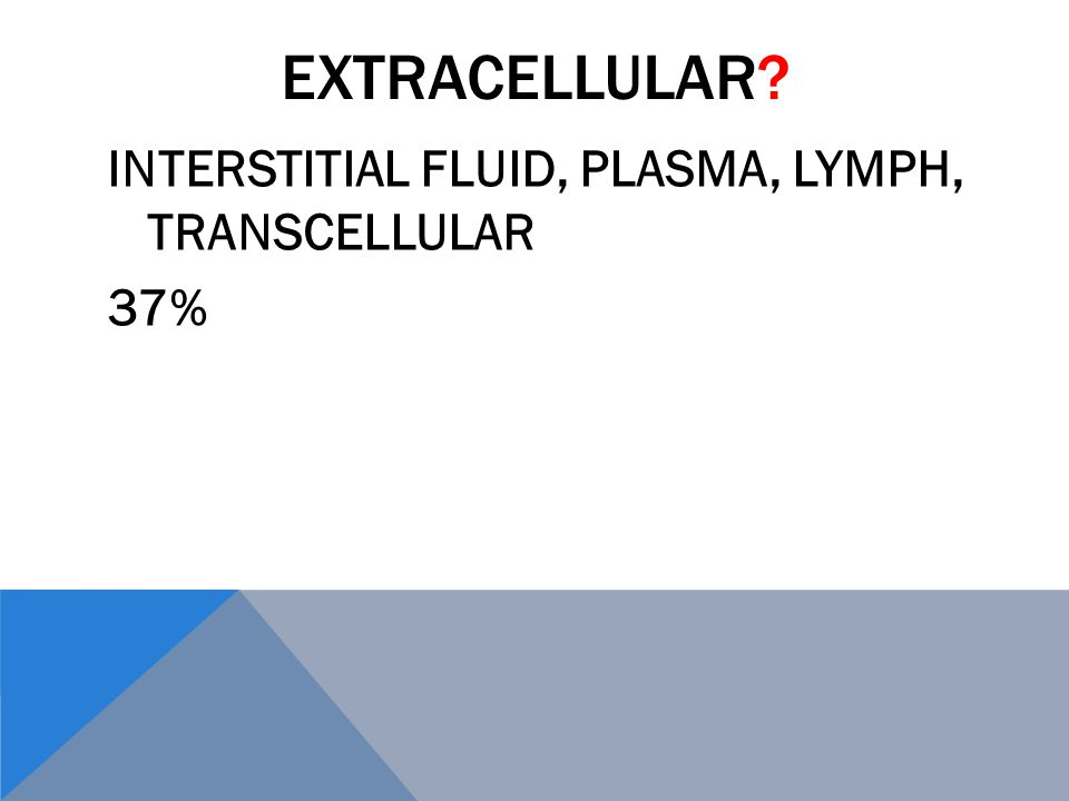 EXTRACELLULAR INTERSTITIAL FLUID, PLASMA, LYMPH, TRANSCELLULAR 37%