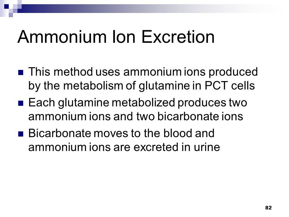 Ammonium Ion Excretion This method uses ammonium ions produced by the metabolism of glutamine in PCT cells Each glutamine metabolized produces two amm